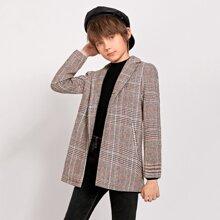 Einreihiger Mantel mit Reverskragen und Karo Muster