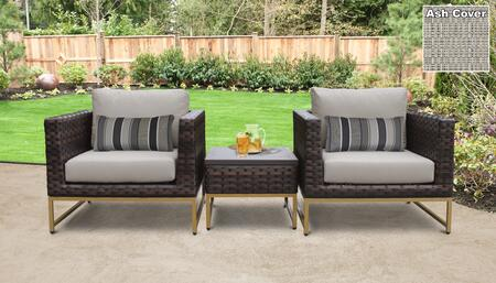 Barcelona Collection BARCELONA-03a-GLD-ASH 3-Piece Patio Wicker Set with 1 End Table and 2 Club Chairs - Beige and Ash