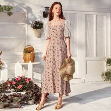 Butterfly Print Square Neck Contrast Lace Sleeve Dress
