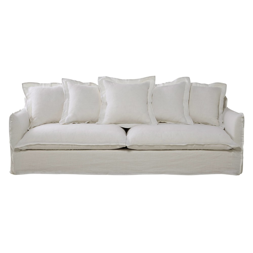 5-Sitzer-Sofa aus Leinen, weiss Barcelone