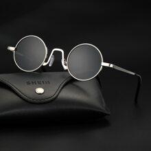 Men Round Metal Frame Sunglasses