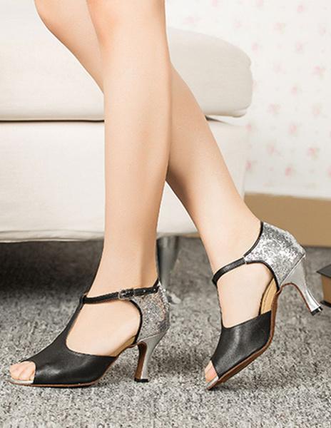 Milanoo Red Ballroom Shoes High Heel Women's Peep Toe T Strap Two Tone Dance Shoes