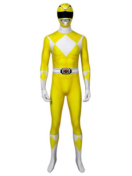 Milanoo Mighty Morphin Power Rangers Yellow Ranger Zentai Jumpsuit Disfraz de Cosplay