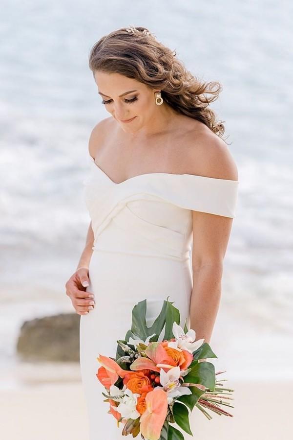 Elegant Off The Shoulder Sheath Wedding Dresses | Floor Length Bridal Gowns Online
