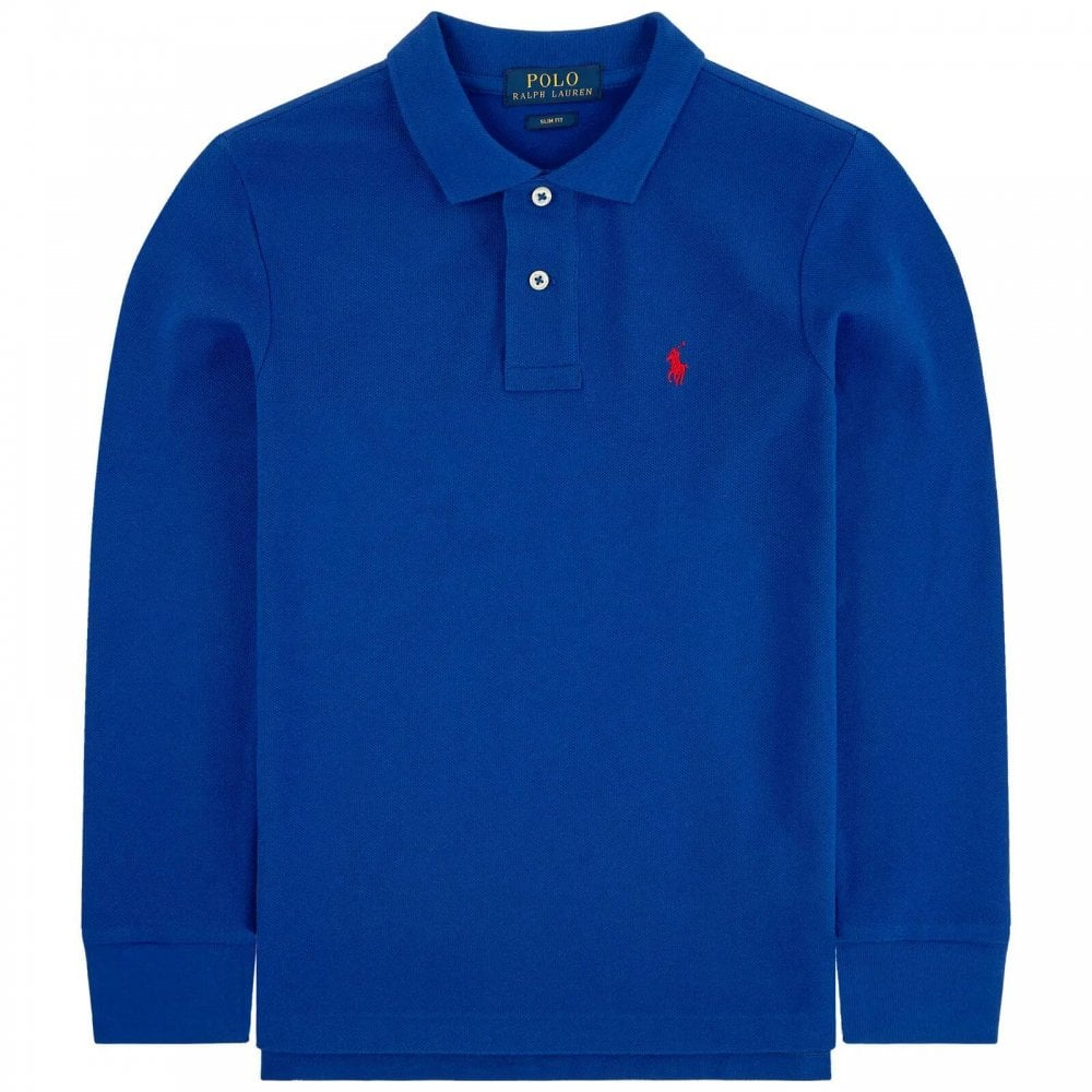 Ralph Lauren Long Sleve Logo Polo Size: S (8 YEARS), Colour: BLUE