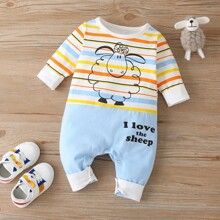 Baby Unisex Cartoon And Striped Jumpsuit