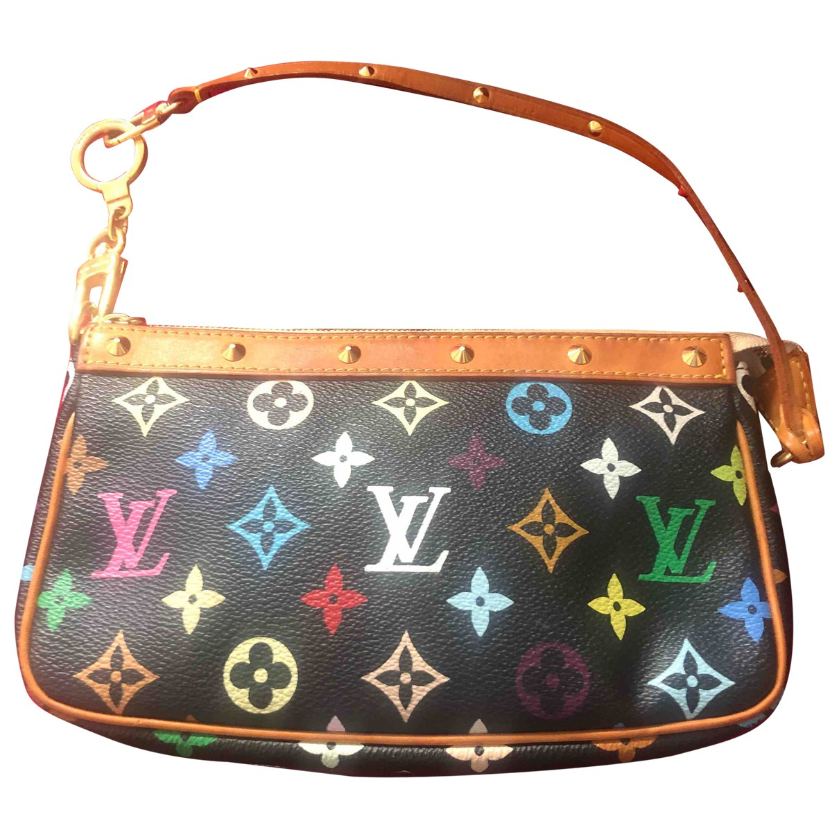 Louis Vuitton Pochette Accessoire Clutch in  Bunt Leinen