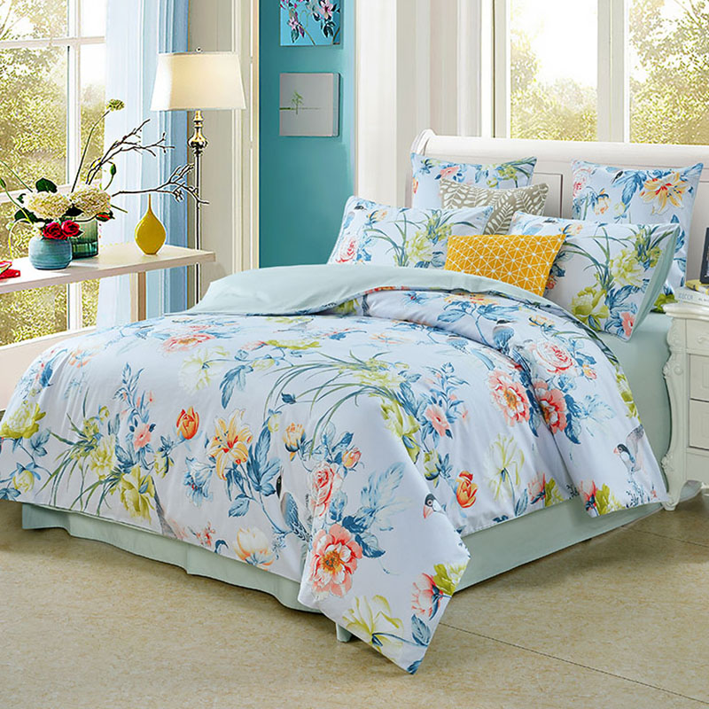 Vintage Style Watercolor Flowers Polyester Four-Piece Bedding Sets Duvet Cover Fitted Sheet 2 Pillowcases
