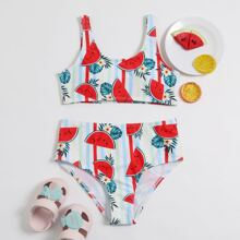 Bikini Badeanzug mit Streifen & Wassermelone Muster