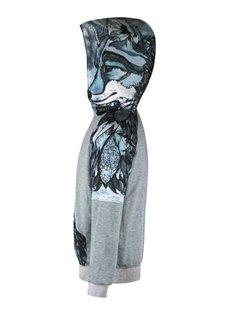 Grey Long Sleeve Leaves Pattern 3D Painted Hoodie