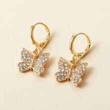 1pair Rhinestone Decor Butterfly Decor Earrings