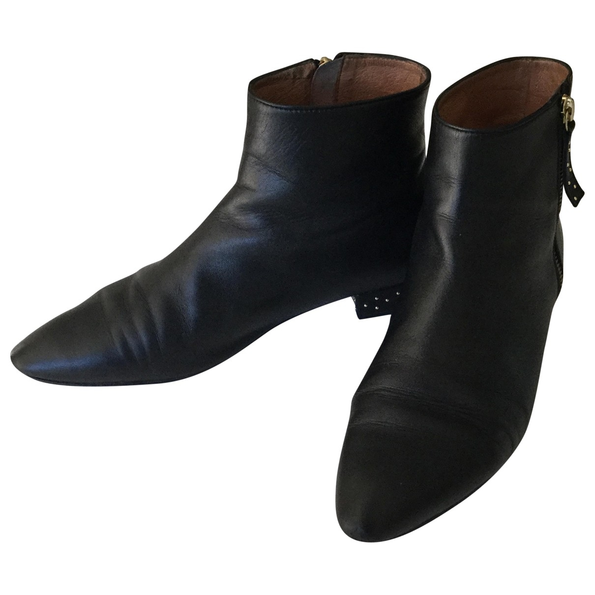 Petite Mendigote \N Black Leather Ankle boots for Women 38 EU