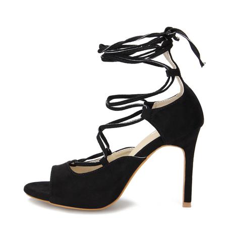 Yoins Black Crossing Strap Lace-up Ladies Heels