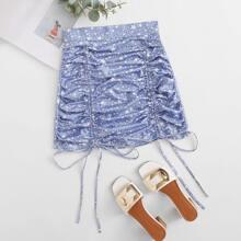 Falda con estampado de estrella con nudo con cordon fruncido
