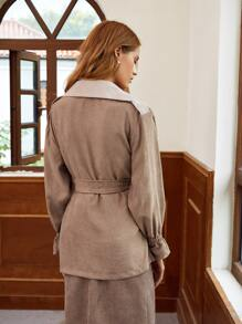 Button Front Belted Flounce Sleeve Coat