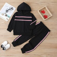 Toddler Girls Striped Print Hoodie With Sweatpants