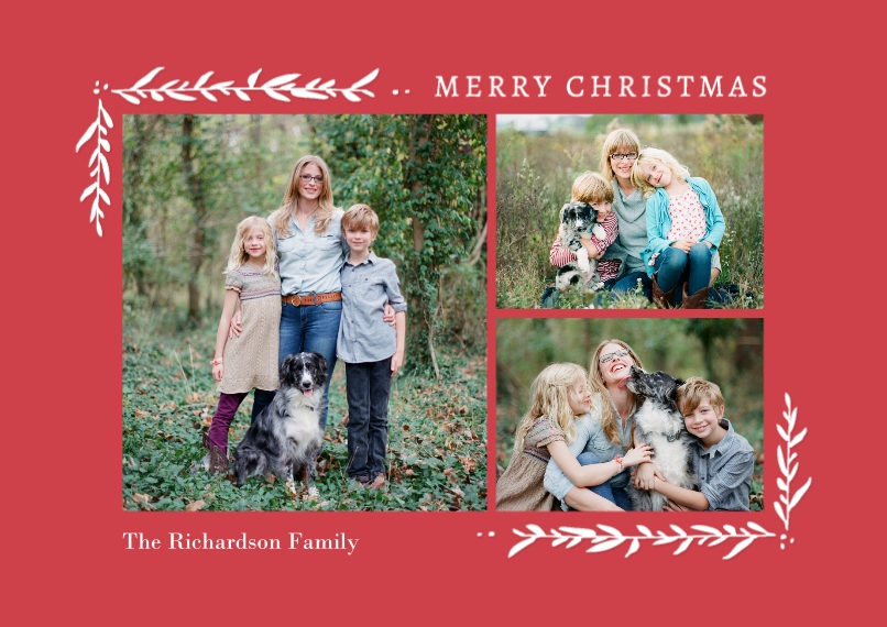 Christmas Photo Cards 5x7 Cards, Premium Cardstock 120lb, Card & Stationery -Christmas Corners Foliage
