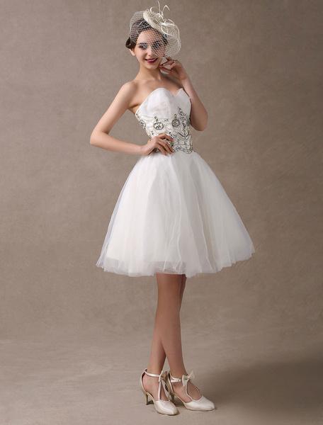 Milanoo Wedding Dresses Short Vintage 1950s Beaded Strapless Sweetheart Bridal Reception Dress