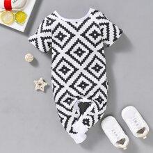 Schwarz und Weiss Geometrisches Muster Laessig Baby Body
