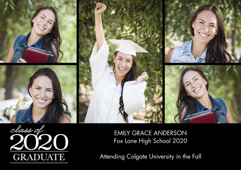 2020 Graduation Announcements Flat Matte Photo Paper Cards with Envelopes, 5x7, Card & Stationery -2020 Graduation Collage by Tumbalina