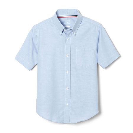 French Toast Little & Big Boys Point Collar Short Sleeve Wrinkle Resistant Dress Shirt, 12 , Blue