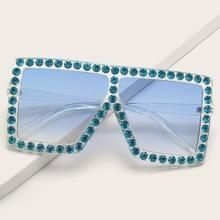 Rhinestone Square Frame Sunglasses