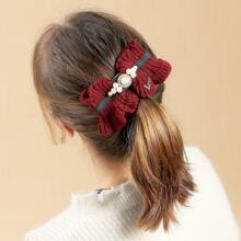 Rhinestone & Faux Pearl Decor Knit Hair Clip