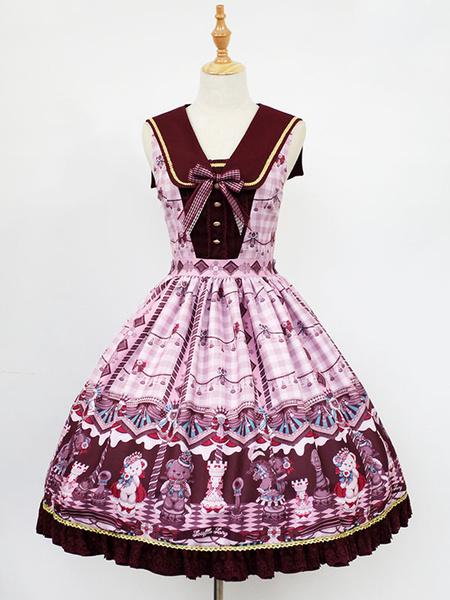 Milanoo Classic Lolita JSK Jumper Skirt Neverland Sleeveless Printed Pleated Atrovirens Lolita Dresses Original Design