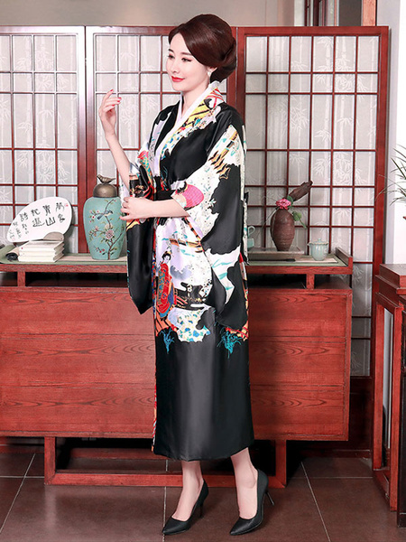 Milanoo Adult\'s Japanes Costumes Black Kimono Polyester Satin Dress Oriental Set Holidays Costumes