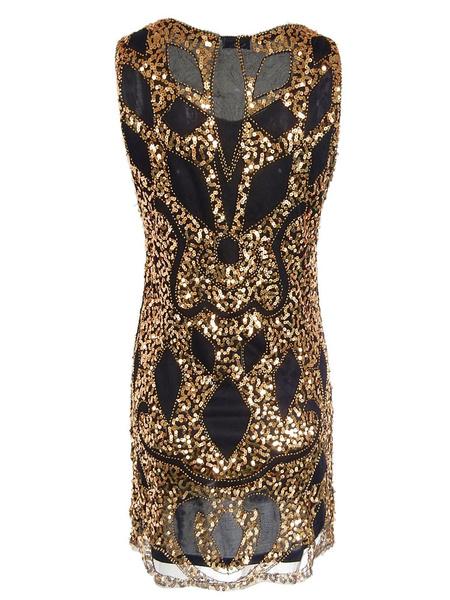 Milanoo Golden Flapper Dresses Sequin 1920s Great Gatsby Costume Vintage Costumes Dress Halloween