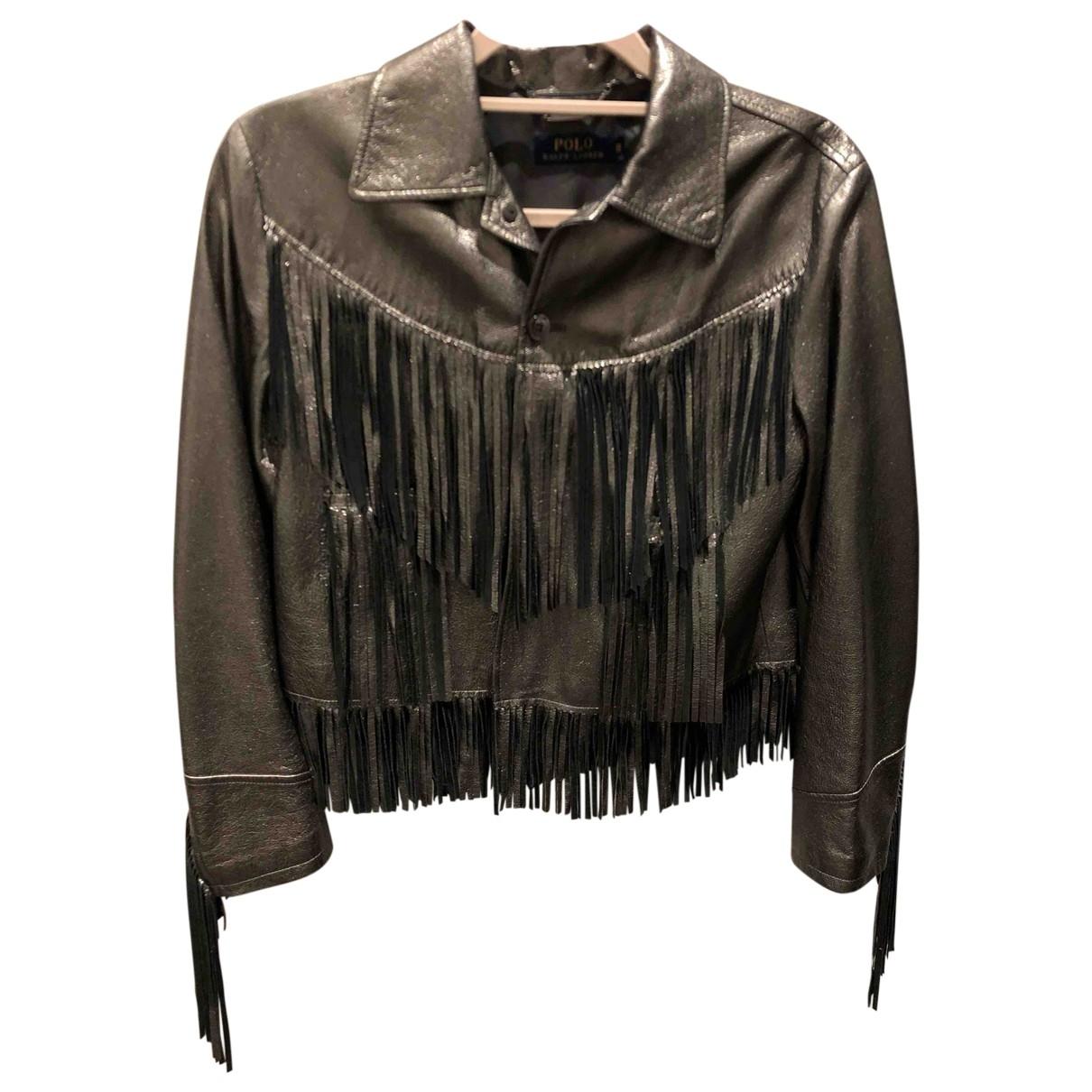 Polo Ralph Lauren - Veste   pour femme en cuir - argente