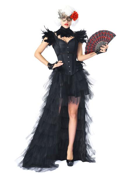 Milanoo Halloween Costume Six Piece Corset Set Black Fancy Dress Ball Corset Dress For Womrn