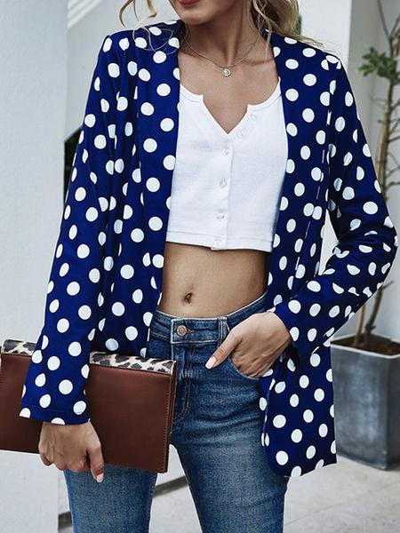 Milanoo Chaqueta Blazer de mujer Chaqueta de primavera de lunares de manga larga con cuello vuelto azul
