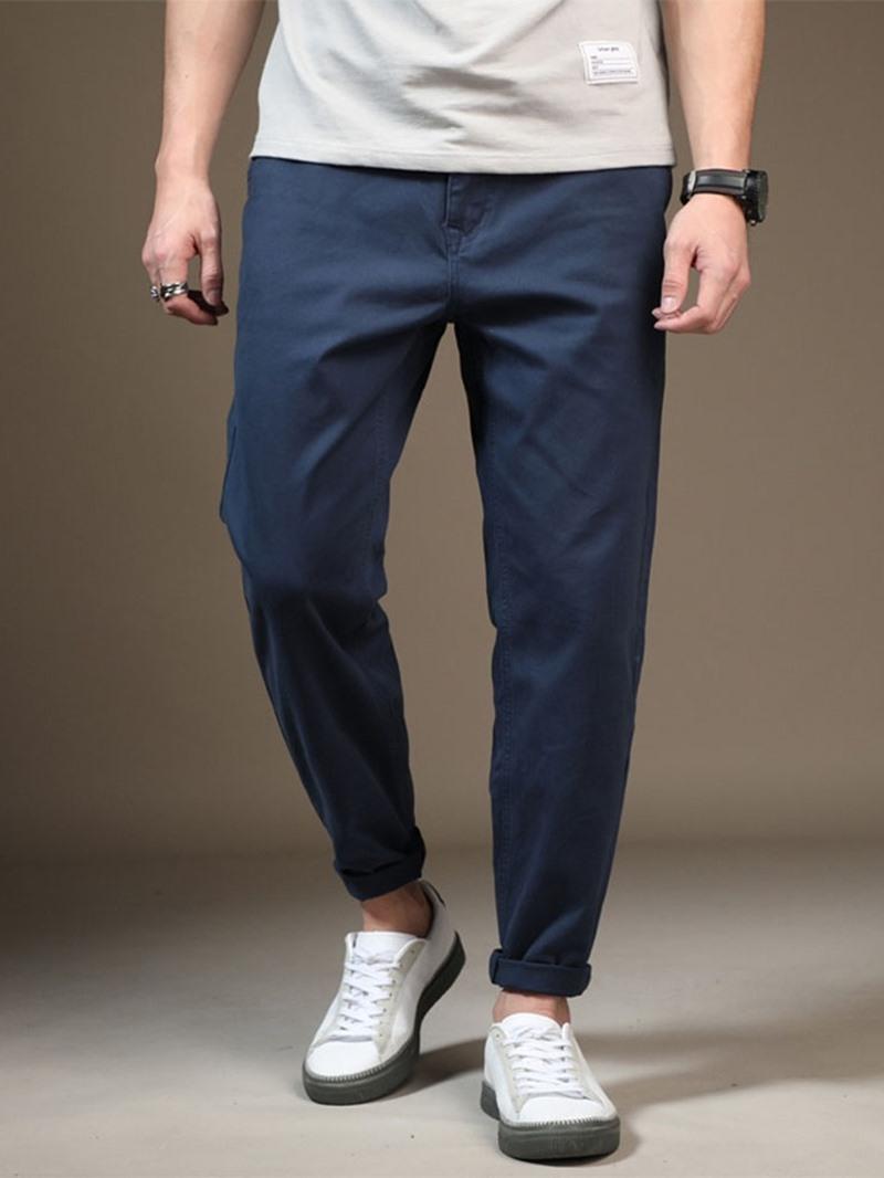 Ericdress Thin Plain Color Pocket Zipper Men's Casual Pants