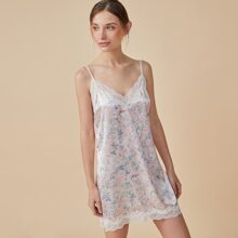 PJM Lace Trim Floral Print Satin Night Dress