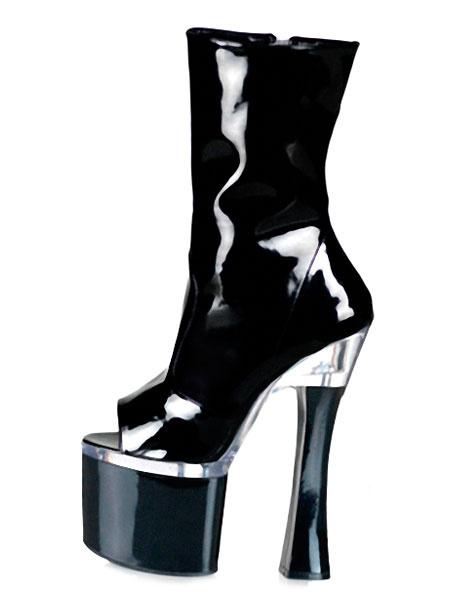 Milanoo Botas negras sexy para mujer Plataforma peep toe Botas de tacon alto