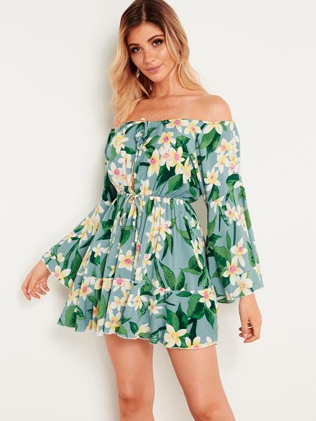 Yoins Light Green Cut Out Floral Print Off The Shoulder Drawstring Waist Sexy Dress