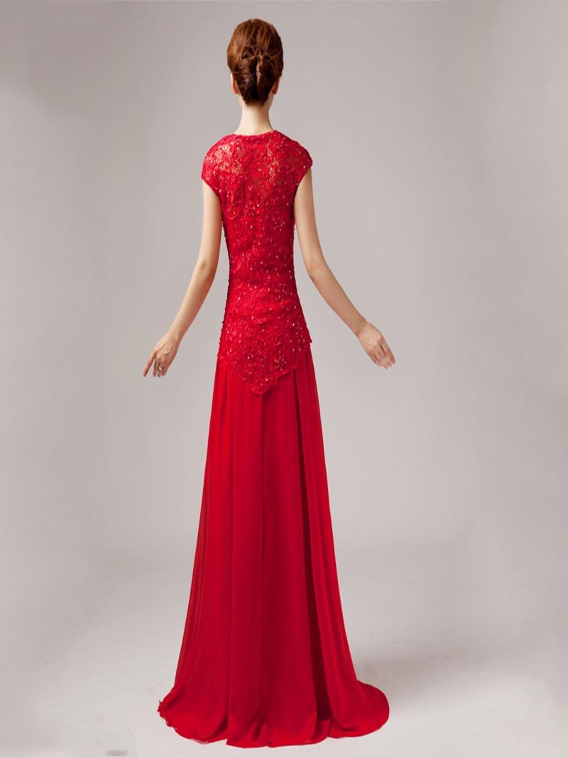 Elegant Short Sleeves A-Line Lace Floor Length Prom Dress