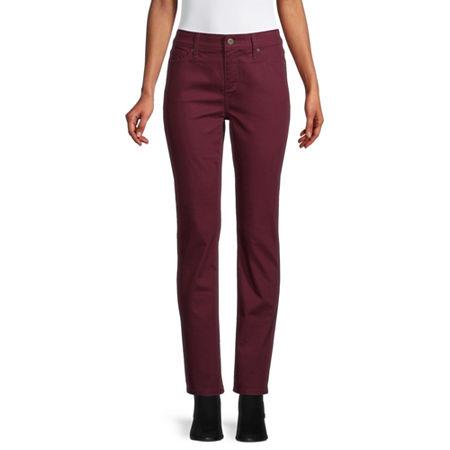 St. John's Bay Womens Mid Rise Straight Leg Jean, 14 Short , Red
