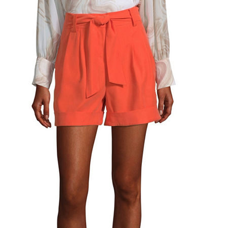 Worthington Womens High Rise Midi Short, 6 , Orange