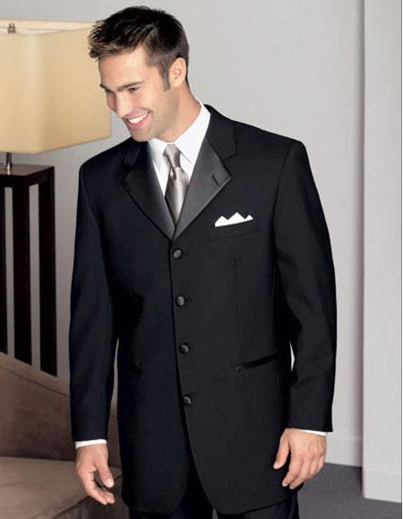 Men's Wool Black Tuxedo 4 Buttons Style Notch Lapel Pleated Pants