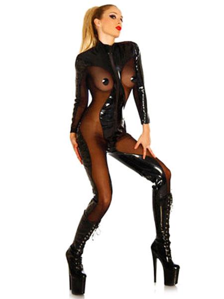 Milanoo Sexy Catsuits Black PVC Women's Sexy transparent BodySuit