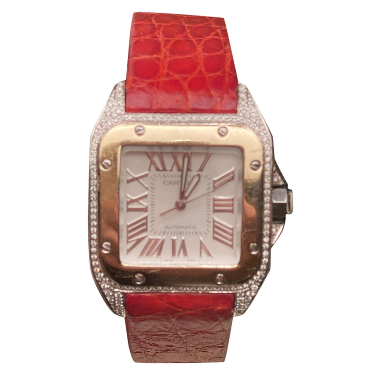 Cartier Santos 100 Uhr in  Rot Stahl