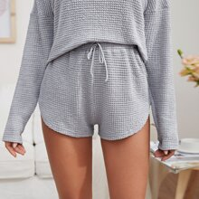 Tie Front Waffle Knit Lounge Shorts