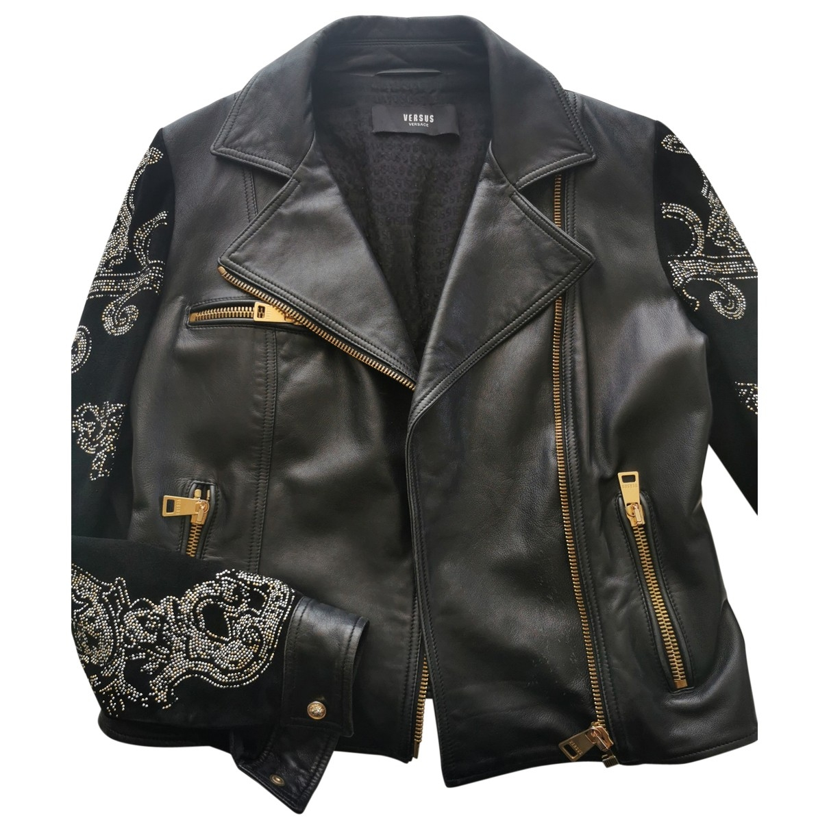 Versus \N Black Leather jacket for Women 42 IT
