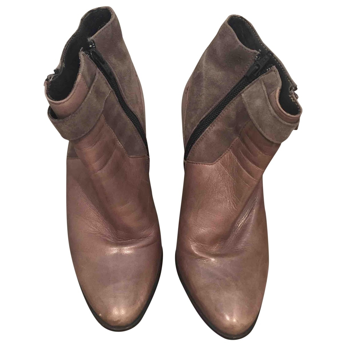 - Boots   pour femme en cuir