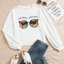 Scenery And Slogan Graphic Sweatshirt