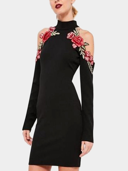 Yoins Black Embroidered Halter Dress