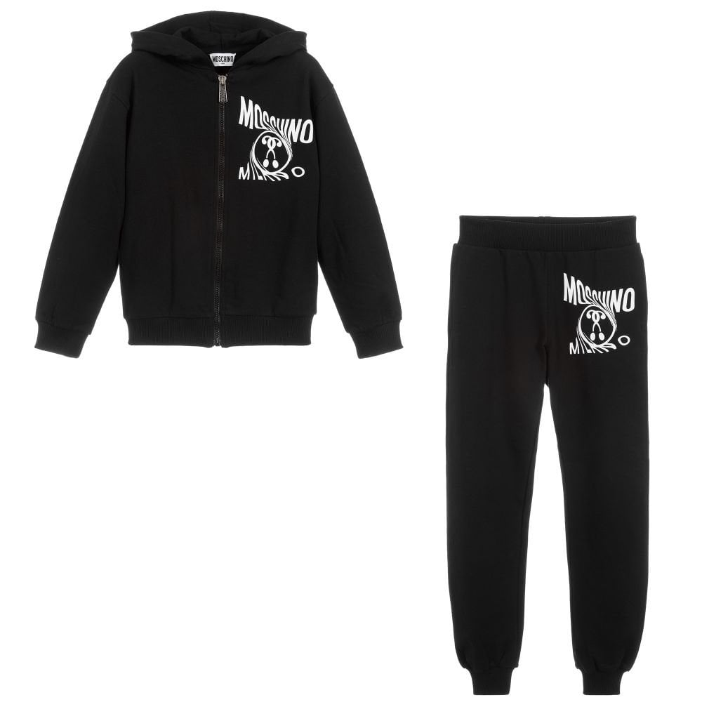 Moschino Cotton Tracksuit Colour: BLACK, Size: 8 YEARS
