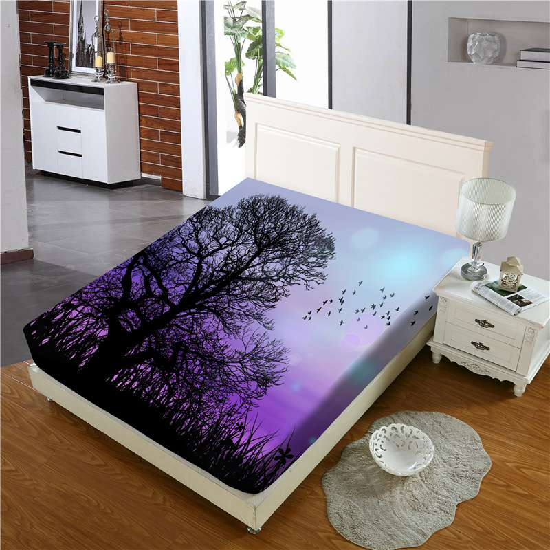 Black Tree and Purple Sky Reactive Printing 1-Piece Polyester Bed Cover / Mattress Cover